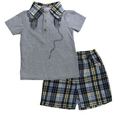New Little Me Baby Boys 2 Piece sets Shirt Top and Pants Size 3 6 9 12 months