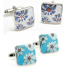 Silver enamel square cufflinks metal cufflinks men's cufflinks button wedding
