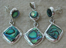 925 STERLING SILVER NZ Paua Shell ABALONE Diamond Shaped Drop Earrings & Pendant