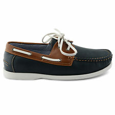NEW MENS NAVY LEATHER LACE UP DECK BOAT CASUAL SHOES UK SIZE 7 8 9 10 11