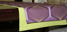 Table Runner Handmade Abstract print in lilac lime green & purple with lime trim