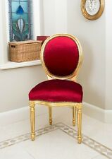 French Louis Side Chair Gold Velvet Shabby Chic Bedroom Hallway Wooden Frame