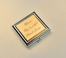 Personalized Two Tone Gold &  Silver Square Compact Mirror Custom Engraved Free
