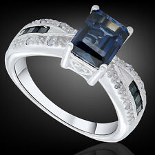 Women's Genuine 3.00 CTW Sapphire & 0.10 CTW Diamond Cocktail Engagement Ring