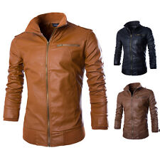 Fashion New Mens PU Leather Coat Outwear Slim Fit Biker Motorcycle Jacket