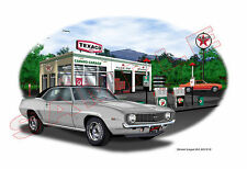 1969 Camaro SS 396 Garage Muscle Car Art Print - Silver