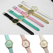 Casual Analog Quartz Wrist Watch Women Geneva Faux Leather Band Elegant Flower