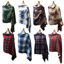 Women Ladies Winter Vintage Fashion Check Butterfly Cape Shawl Scarf Wrap Warm