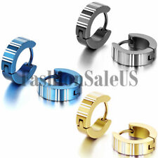 Men's Women's Fashion Stainless Steel Striped Charm Hoop Huggie Earrings 2PCS