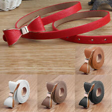 New Candy Color Womens Belt Skinny Wide Leather Dress Belts Bow Casual Waistband