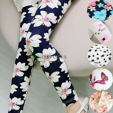 Fashion Kids Girls Pants Floral Ninth Pants Basic Leggings Casual Short Pants