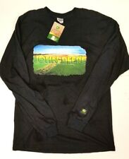 NEW John Deere Black Long Sleeve T-Shirt Field Scene NRLAD Size M Medium