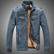 mens fashion leather stand collar motorcycle cowboy Fur Lined jacket retro coat