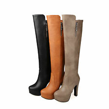 Women's Synthetic Leather Shoes Platform High Heels Zip Knee Boots AU Size b084
