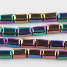 20/40Pcs Charm The Colorful Cuboid Crystal Beads Necklace Jewelry Making 8*4mm