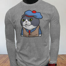 Funny Lover Cartoon Scottish Fold Cat in Suit Cute Mens Gray Long Sleeve T-Shirt
