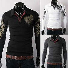 Charming Mens Slim Fit Cotton Blend T-shirts Polo Long Sleeve Business Shirts