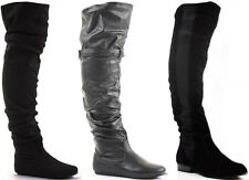 LADIES WOMENS BIKER RIDING STYLE THIGH HIGH OVER THE KNEE FLAT HEEL BOOTS SIZE