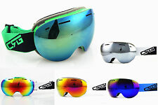 Women/Mens Rimless Ski Goggles Double Lens Antifog Mirror Snow/Snowboard Goggles