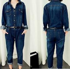 New Fashion Womens casual jumpsuit Vintage Denim Belted overalls long pants Jean