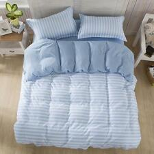 Blue Strip Zip Single Queen All Sizes Bed Set Pillowcases Quilt Duvet Cover NEW
