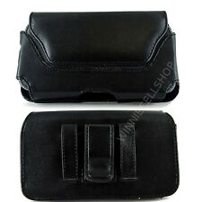 PU Black Leather Sideways Belt Clip Case Pouch Cover for AT&T ATT Cell Phones