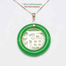 "Beautiful Donut Shape Green Jade ""GOOD LUCK"" 14k Yellow Gold Charm Pendant"