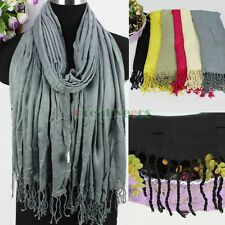 Women Fashion Long Scarf Solid Color Cotton Scarves Ladies Shawl Wrap Tassel New