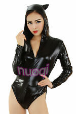 Sexy Womens Wild Cosplay Costume SEXY CATWOMAN Leather jumpsuit