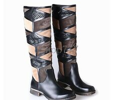 New Winter Womens Zip Knight Boots Real Leather Knee High Boots Flat Shoes US5-9