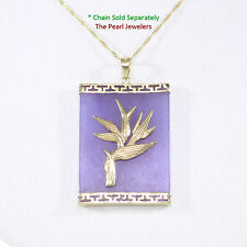 14k Yellow Gold Hawaiian Bird of Paradise Design on Lavender Jade Pendant 1 5/8""