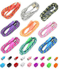 Micro USB Round Braided 2x 3ft Cable + Wall+ Car Chargers for Galaxy LG