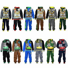 Eskaay Kids Sweatsuit Boys Printed Polyester Sweatshirt SweatPant Hoodie Top Set