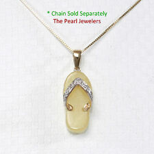14k Solid Yellow Gold Diamond Set with Flip-Flop Slipper of Yellow Jade Pendant