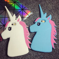 3D Cute Unicorn Cartoon Rubber Silicone Soft Case Cover Skin For iPhone Samsung
