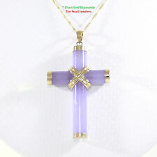 14k Solid Yellow Gold Hand 7mm Column Lavender Jade Christian Cross Pendant 2.1""