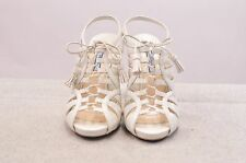 NIB PRADA CALZ DONNA WHITE LEATHER CAGE HEELS OPEN TOE MADE IN ITALY
