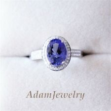 6*8mm 14K White Gold VS Natural Tanzanite Ring Diamonds Engagement  Birthstone