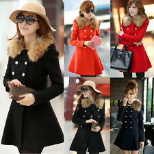 New Womens Warm Slim Fur Collar Coat Jacket Trench Parka Outwear Overcoat Tops