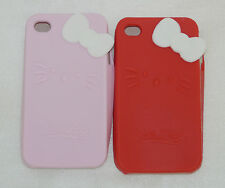 Soft Silicone Cat Ribbon Gel Rubber Skin Case Cover For IPhone 4 4S 4G