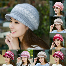 Winter Girls Warm Rabbit Fur Women Beret Baggy Beanie Crochet Knit Cap Wool Hat