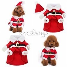 Pet Puppy Cat Dog Santa Claus Christmas Coat Costume Outfit Clothes Apparel