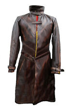 Aiden Pearce Watch Dogs Leather Jacket - Distressed Brown Trench Coat