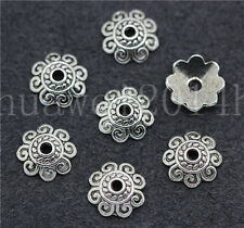 20/100/500pcs Antique Silver Beautiful Flower Charms Beads Cap Craft DIY 10mm