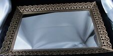 Vintage Ornate Gold Tone Filagree Footed Mirrored Vanity Tray 17 X 11