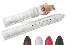 12~20mm Leather Lizard  Grian Rose Gold Push Butterfly Buckle Watch Band Strap