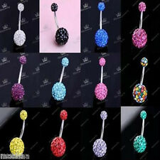 14ga Czech Crystal 2 Disco Ball Navel Belly Bar Ring Earring Body Piercing 1pc
