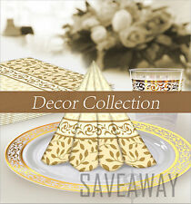 Elegant Wedding Party Disposable Plastic Plates Decor Cream-Gold-Silver-White