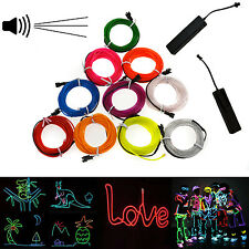 Neon LED Light Glow EL Wire String Strip Rope Tube + Sound Activated Controller