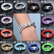 Double Layer Leather Wrap Wristband Cuff Punk Magnetic Buckle Bracelet Bangle